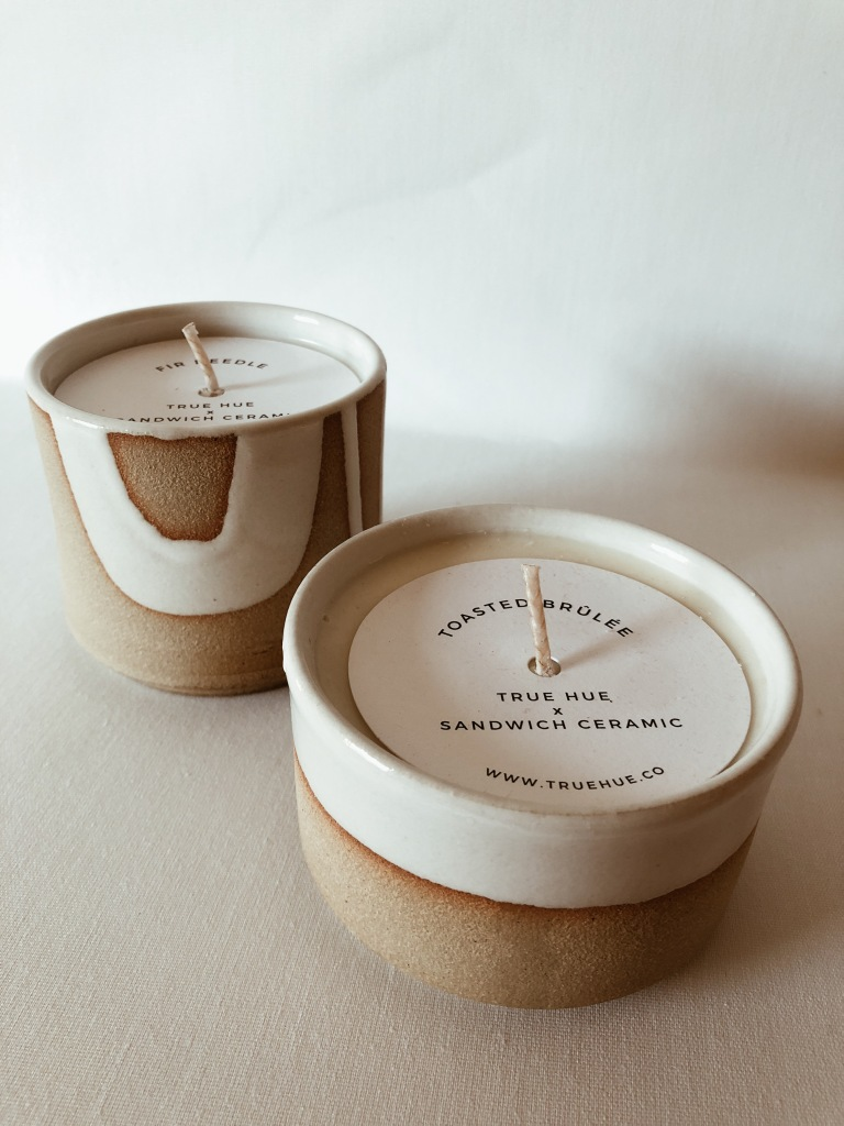 Fir Needle + Toasted Brûlée candles, from True Hue's Holiday collection, 2019